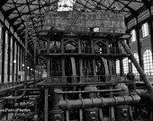 Industrial Photos, Ward Pumping Station, Buffalo, NY, Black and White Photo, Industrial Chic, Industrial Decor, Antique Photos, Vintage