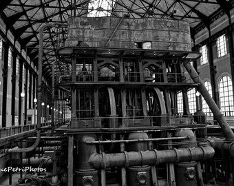 Industrial Photos, Ward Pumping Station, Buffalo, NY, Black and White Photo, Industrial Chic, Industrial, Photo Card, Magnet, Free Shipping