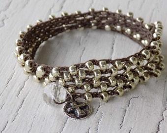 Silver Cross Bracelet, Crocheted Cross Necklace, Silver Wrap Bracelet, Bohemian Necklace, Silver Cross Necklace, Rustic Cross Necklace