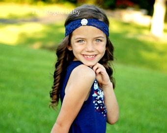 Navy Lace & Pearl Headband -  Photo Prop - Gatsby - Wide Lace - Headband - Newborn Baby Toddler - Flower Girl - Bridal Navy Blue