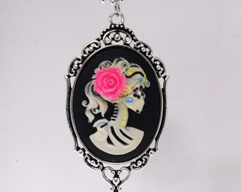 Sugar Skull Cameo Necklace -Day of Dead, Día de Muertos, gift for her, cool,calaveras, girlfriend, mardi gras