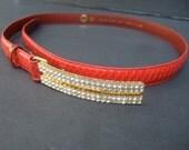 RESERVED SALE PENDING Sleek Diamante Crystal Red Snakeskin Belt c 1980s