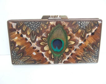 Exotic Peacock Feather Wallet c 1980s