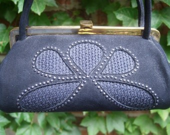 1960s Black Suede Beaded Trim Diminutive Handbag