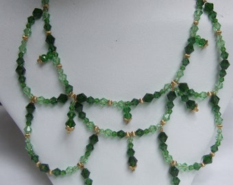 Dramatic Green Crystal Collar Necklace c 1970