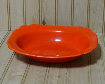 Vintage Riviera Century Homer Laughlin Pottery Oval Baker Bowl Scalloped  Red