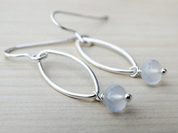 Silver & Pale Blue Chalcedony Drop Earrings - Sterling Silver