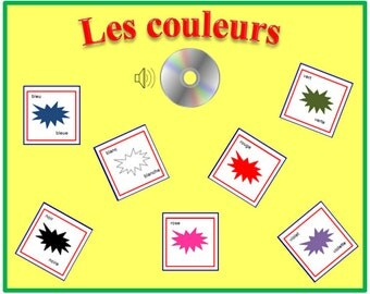 COLOUR FRENCH FLASHCARDS with Pronunciation on Audio File-Learning-French Words-Homeschool-French Language-Teacher-
