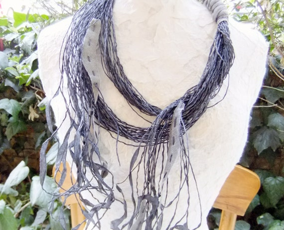 Black Paper Thread & Grey Denim Necklace