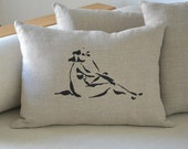 Nude drawing on linen pillow cover hand print - 100% natural linen eco friendly fabric -Beige pillow/ nude pillow hand painted