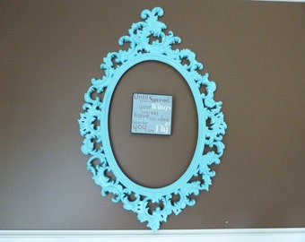 Vintage Cottage Chic  Ornate Frame, Wall Hanging, French Apartment Decor, Photography Prop, Wedding Decor, Aqua Blue Shabby Frame