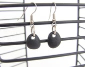 Black Beach Stone Earrings - Beach Stone jewelry - Black stone earrings - Pebble Jewelry - Black Jewelry - Rock Jewelry