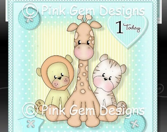 Baby Animals Downloadable Card Kit with Decoupage.1st Birthday. New Baby