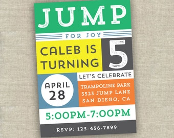 bounce house party invitation - trampoline party invitation - jump invitation