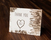 Wedding Thank You Card, Rustic Thank You Card, Tree Thank You Card, Aspen