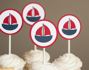 Nautical Baby Shower Cupcake Toppers, Boat Cupcake Toppers, Nautical Birthday Party, Boat Baby Shower