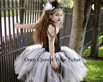Bride Of Frankenstein Tutu Dress - Halloween Costume - Little Girls Size 6 12 Months 2T 3T 4T 5T 6 7 8 10 12 - Scary Monster Pageant Gown