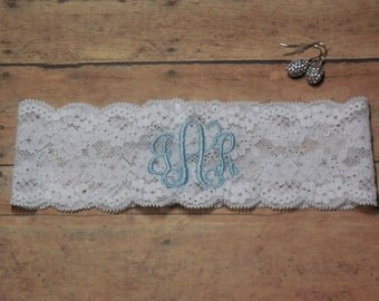 Monogrammed Garter, Monogram, Personalized Garter, Custom Garter, Blue Garter, Something Blue, Garter, Initals Garter, Wedding, Bridal