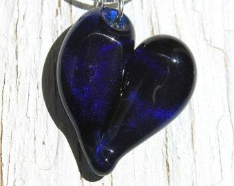 Sparkling Blue Heart, Borosilicate Handblown Pendant, Heart Necklace Lampwork Focal Heart Bead
