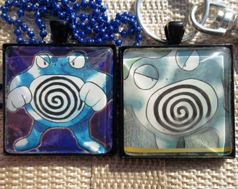 Poliwrath Glass Pendant Necklace Keychain Charm made from Trading Cards