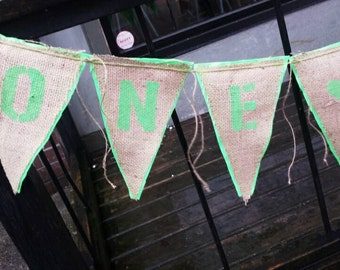 Upcycled ONE LOVE Burlap Banner (with mint green letters and felt backing) Eco-Friendly Home or Wedding Decor