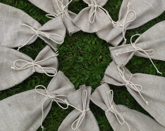 "Natural Light Grey Linen Favor Bags 3 1/2""x6"" Set of 10"