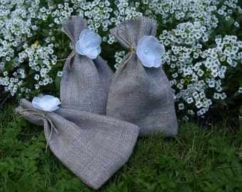 """Natural Grey Linen Favor Bags With Flowers 3 1/2""""x6"""" Set of 10"""