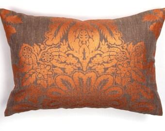 Designer Pillow, Decorative Pillow Orange Gray Pillow, Lumbar Pillow