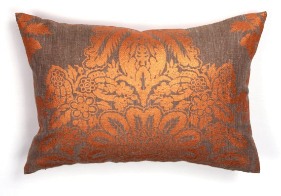 items similar to designer pillow decorative pillow orange gray pillow lumbar pillow on etsy. Black Bedroom Furniture Sets. Home Design Ideas