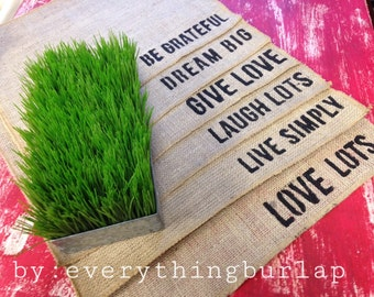 Burlap place mats with words set of 6