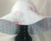 Reversible Baby Girls Shabby Chic Rose Floral Fun in the Sun Hat