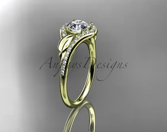 "14kt yellow gold diamond leaf wedding ring, engagement ring with a ""Forever One""   Moissanite center stone ADLR334"