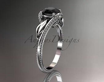 Unique platinum  engagement ring with black diamond center stone, ADLR322