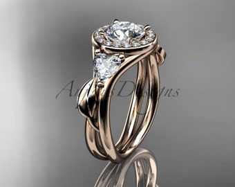 14kt rose gold diamond unique engagement ring, wedding ring ADLR314