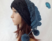 Slouchy Beanie Slouch Hat Oversized Baggy Cabled Hat Neck Warmer womens Fall Winter Merino Wool Nawy Blue Black Hand Made Knit