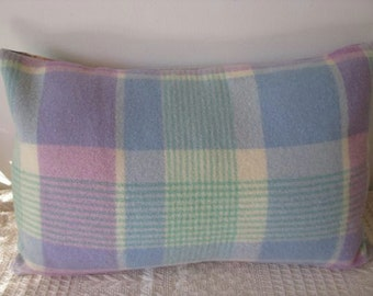Pillow - Vintage up-cycled woollen blanket cushion cover with blanket stitch binding in mint, blue, lilac, cream 14x21inch (35.5x53.5 cm)