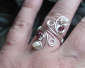 Wire Woven Garnet and Pearl Handfasting Ring