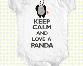 Custom Keep Calm and Love a Panda kids one-piece or Shirt - Printed on Baby one-piece, Toddler, Youth shirts
