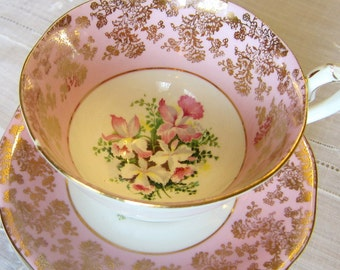 Vintage Queen Anne Bone China, Made in England, Tea set, Pink Tea cup with flowers