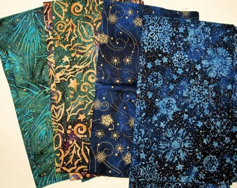 4 Blues Christmas Cotton Fabric