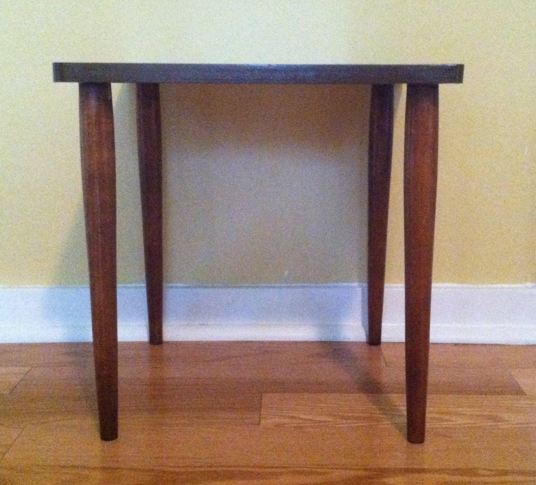 Vintage Mid Century Modern Wood Leg SIDE TABLE Formica Top