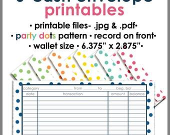 Printable Cash Envelope WALLET Size, Single Color-PARTY DOTS, Money Budget Envelopes, Cash Organizer - Set of 6, Instant Download - PB1525