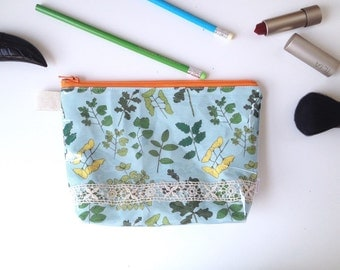 Field Guide to Trees Flat Bottom Pouch Small (vinyl outside/ handmade philosophy's pattern)