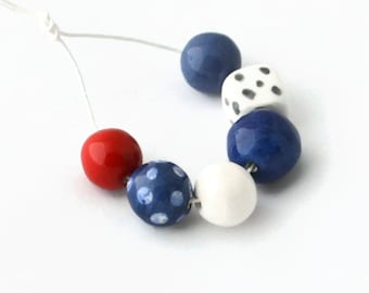 Art Beads, African beads, handmade African beads, ceramic beads, blue beads, red beads, white beads