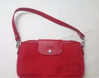 Longchamp, Paris, Le Pliages bag, small red convertible clutch, Planetes