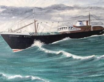 Vintage Naive Folk Art Marine-Boat Painting, France