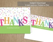 DIY Baby Sprinkle Thank You - 5.5 x 4 - Sprinkles - Baby Shower Thank You Flat or Folded