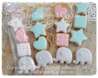 Elephant Baby Shower MINI Shortbread Sugar Cookie Favors