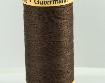 Gutermann Natural Cotton Thread Dark Brown Code 1912 - 250m Length -  100 per cent cotton - Craft Supplies