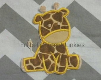 Small baby giraffe- iron embroidered fabric applique patch embellishment- ready to ship